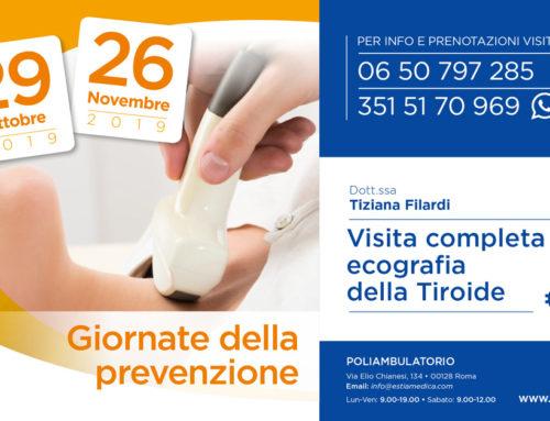 29 Ottobre e 26 Novembre 2019 – Giornate della prevenzione